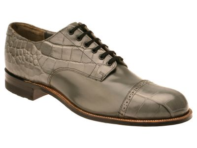Stacy Adams Madison Mens Grey Croc Trim Leather  Shoes 00042-10
