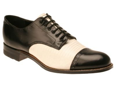 Stacy Adams Madison Mens Black and White Lizard  Leather Dress Shoes 00049-21