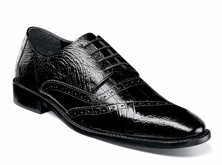 Stacy Adams Mens Black Leather Shoes Ostrich Texture Designer Cap Toe 25028-001 - click to enlarge