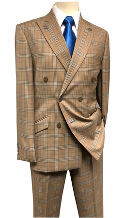 Stacy Adams Suits Mens Double Breasted Camel Plaid Duece 5982-778 IS - click to enlarge