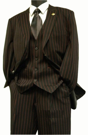 Stacy Adams Mens Suits Black/Red Loud Gangster Stripe Style Mars Vested 4017-050 - click to enlarge