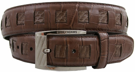Stacy Adams Mens Cognac Crocodile Print  Leather Belt 6164 - click to enlarge