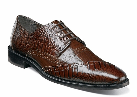 Stacy Adams Mens Cognac Dress Shoes Ostrich Print Designer Cap Toe 25028-221 - click to enlarge