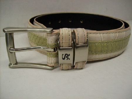 Stacy Adams Mens Cream Crocodile Print  Leather Belt 6127 - click to enlarge