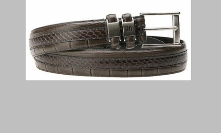 Stacy Adams Mens Gray Crocodile Print  Leather Belt 6127 - click to enlarge