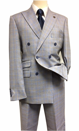 Stacy Adams Men's Blue Plaid 1940s Double Breasted Suit 5748-749 IS - click to enlarge