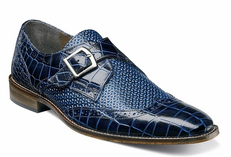Stacy Adams Mens Shoes Blue Texture Side Buckle 25084-400 OS - click to enlarge