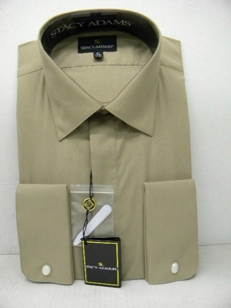 Stacy Adams Mens Beige Spread Collar French Cuff Dress Shirt 39046 - click to enlarge