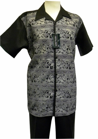 Mens Black Linen Casual Outfit Mesh Front Successo 3300 - click to enlarge