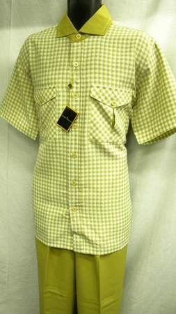 Stacy Adams Mens Tan Plaid Wide Leg Walking Suit SA640 IS - click to enlarge