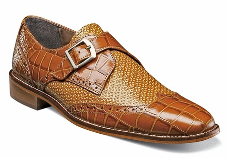 Stacy Adams Shoes Mens Tan Gator Tex Monk Buckle Strap 25084-240 OS - click to enlarge