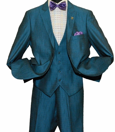 Stacy Adams Mens Teal Blue 3 Piece Suit Sky Vest 5732-022 IS - click to enlarge