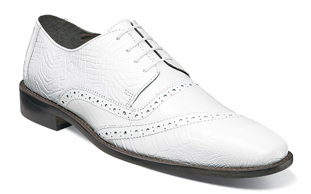 Stacy Adams Mens White Designer Dress Shoes Ostrich Print Cap Toe 25028-100 - click to enlarge