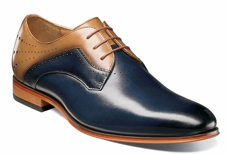 Stacy Adams New Blue Tan Leather Plain Toe Lace Up 25177-492 - click to enlarge