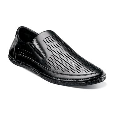 Stacy Adams Northshore Black Perforated Slip On Shoes 24863-001 IS