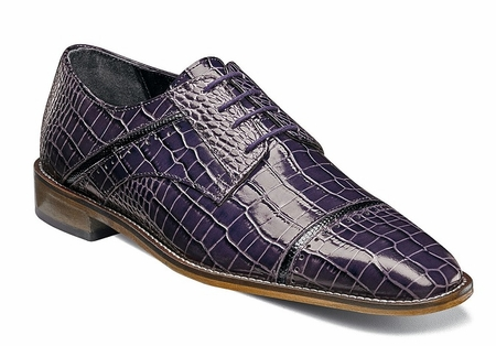 Stacy Adams Fancy Purple Alligator Look Dress Shoes Raimondo 25115-545 OS - click to enlarge