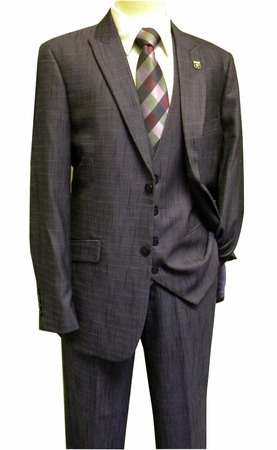 Stacy Adams Purple Silk Look 3 Piece Sky Vested Fashion Suit 5732-019 OS - click to enlarge