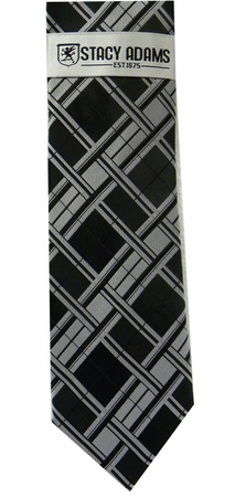 Stacy Adams Black Plaid Woven Neck Tie and Hanky Set - click to enlarge