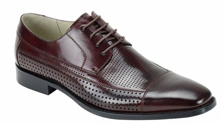 Giovanni Mens Burgundy Perforated Leather Cap Toe Dress Shoes Diego  - click to enlarge