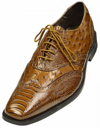 Stacy Adams Shoes Armento Ostrich Print Mustard Wingtip 24777-701 IS - click to enlarge