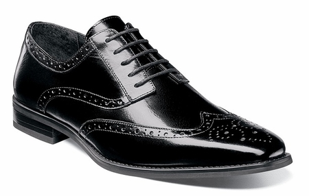 Stacy Adams Shoes Black Leather Wingtip Tinsley 25092-001 OS - click to enlarge