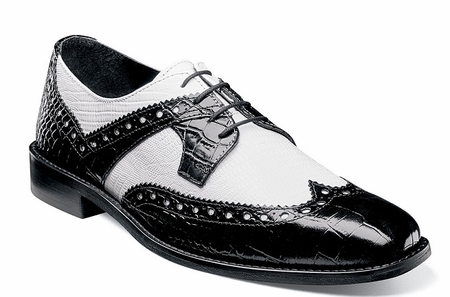 Stacy Adams Shoes Black White Alligator Texture Wingtip 25167-111 - click to enlarge