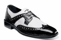 Stacy Adams Shoes Black White Alligator Texture Wingtip 25167-111