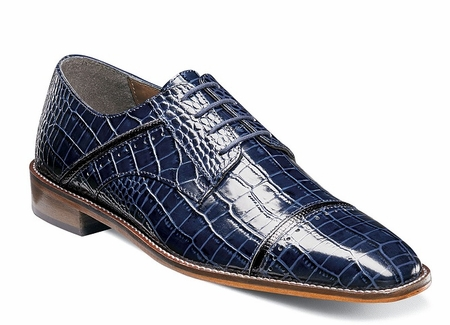 Stacy Adams Shoes Blue Alligator Texture Cap Toe Raimondo 25115-469 - click to enlarge
