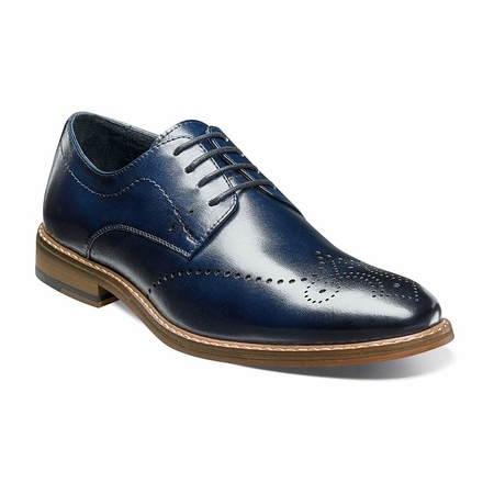 Stacy Adams Shoes Blue Wingtip Oxford Alaire 25128-401 - click to enlarge