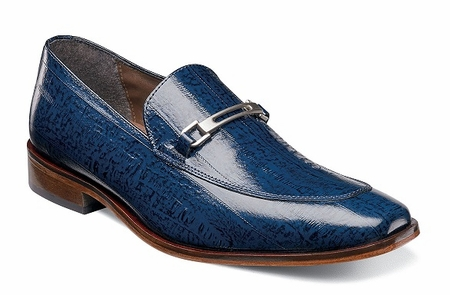 Stacy Adams Mens Blue Eel Print Italian Style Loafer Shoes Santiago 25087-400 OS - click to enlarge