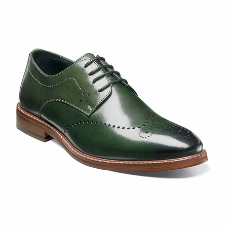 Stacy Adams Shoes Green Wingtip Oxford Alaire 25128-304 - click to enlarge