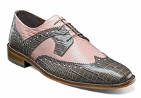 Stacy Adams Shoes Men's Gray Pink Gator Wingtip 25167-062