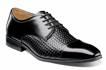 Stacy Adams Shoes Mens Black Stylish Texture Cap Toe 25180-001 - click to enlarge