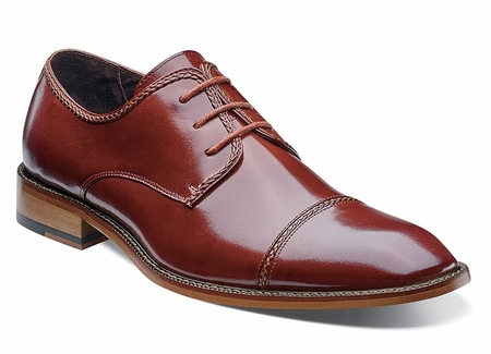 Stacy Adams Shoes Mens Cognac Cap Toe Braden 24972-221 OS - click to enlarge