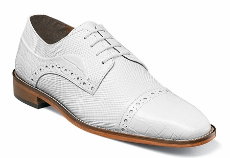 Stacy Adams White Shoes Mens Alligator Cap Toe 25168-100 - click to enlarge