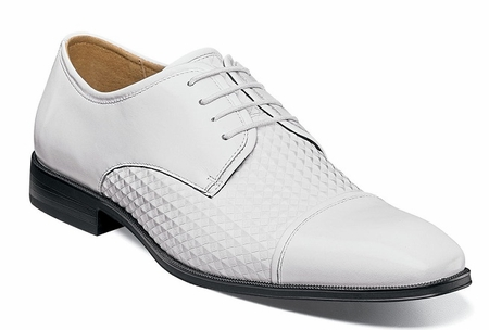 Stacy Adams Shoes Mens White Texture Stylish Cap Toe 25180-100 - click to enlarge