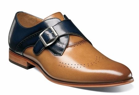 Stacy Adams Shoes New Tan Blue Leather Monk Strap 25178-238 - click to enlarge