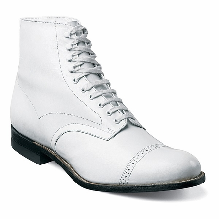Stacy Adams White Original Madison Boots 1920s Style 00015-100 - click to enlarge