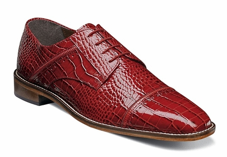 Stacy Adams Shoes Red Gator Texture Cap Toe Raimondo 25115-600 - click to enlarge