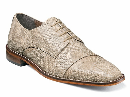Stacy Adams Shoe Taupe Beige Leather Anaconda Pattern 25086-260 OS - click to enlarge