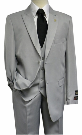 Falcone 3 Piece Fashion Suit Vett Vested Light Grey 3869-001 OS - click to enlarge