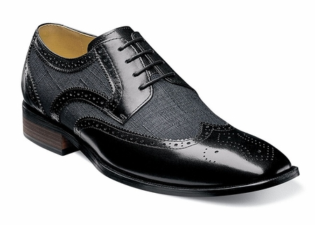 Stacy Adams Spectator Shoes Mens Black Linen Fabric Wingtip 2 Tone 25191-009 - click to enlarge