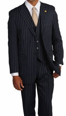 Gangster Style Suits Mens Blue Bold Stripe 1920s 3 Piece Stacy Adams Mars 4017-002 - click to enlarge