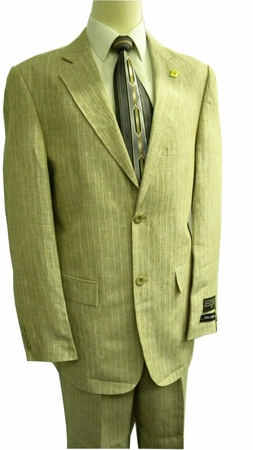 Stacy Adams Suits Taupe Pinstripe Linen Suit 3829-018 IS - click to enlarge