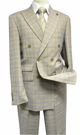 Mens Stacy Adams Beige Plaid 1940s Fancy Double Breasted Suit 5748-758 IS - click to enlarge