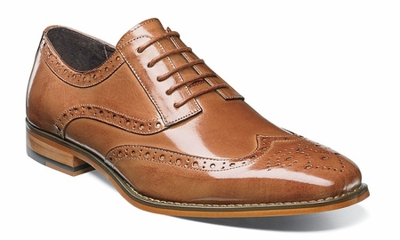 Stacy Adams Tan Leather Wingtip Shoes Tinsley 25092-240 - click to enlarge