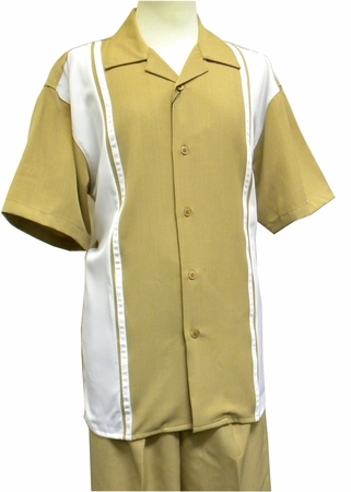 Montique Men's Caramel Panel Front Casual Short Set Outfits 790 - click to enlarge