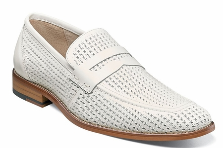 Stacy Adams Shoes Mens White Perforated Leather Penny 25165-100 - click to enlarge