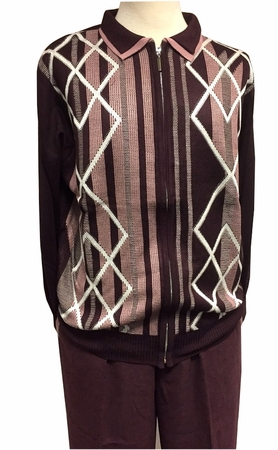 Stacy Adams Wine Burgundy Sweater Pants Set for Men 3372 - click to enlarge