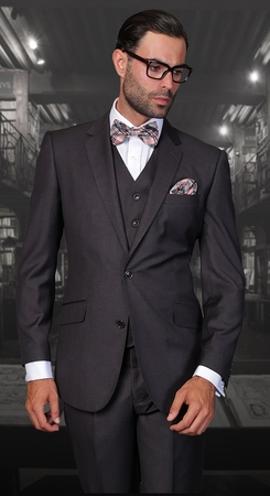 Statement 100% Wool European Fit Heather 3 Piece Suit STZV-100 - click to enlarge
